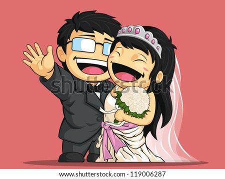 Cartoon of Happy Wedding Bride & Groom - stock vector