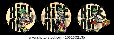 Cartoon of hipster male, ride on skateboard, sports, tshirt print, vector illustration