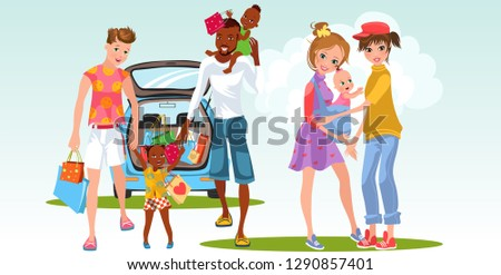 Cartoon of interracial marriage and lesbian family