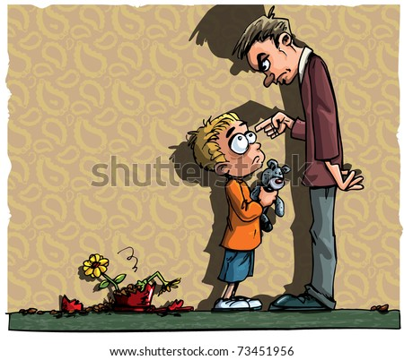 Cartoon of little boy being told off by his father