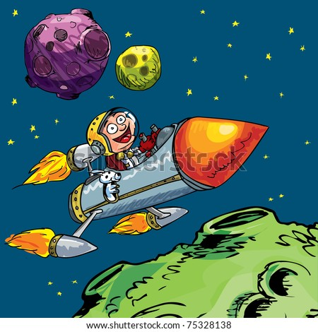 Cartoon of little boy in a rocket flying through space