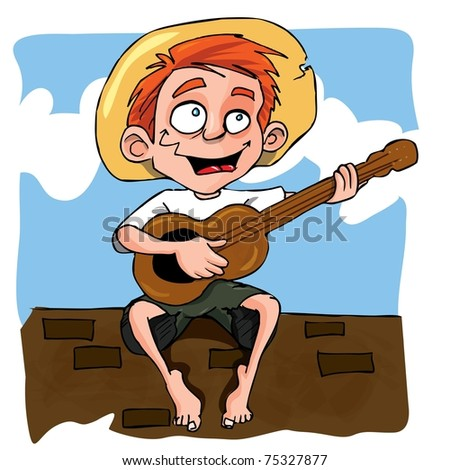 Cartoon of little boy playing guitar on a wll stock vector