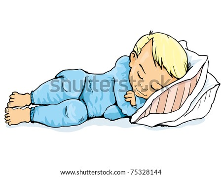 Cartoon of little boy sleeping on a pillow. Isolated on white
