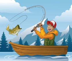 cartoon of man fishing in boat