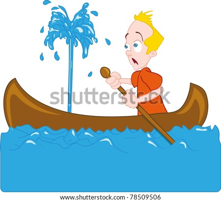 Cartoon of man in a sinking canoe. Isolated