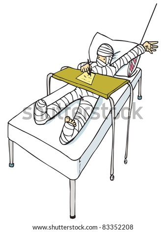 Cartoon of man with a body cast. Isolated on white