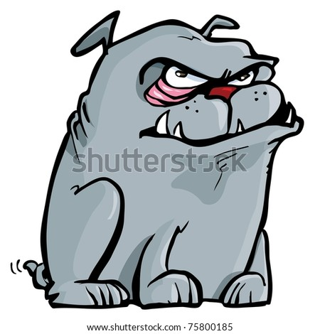 Cartoon of mean bulldog. Isolated on white