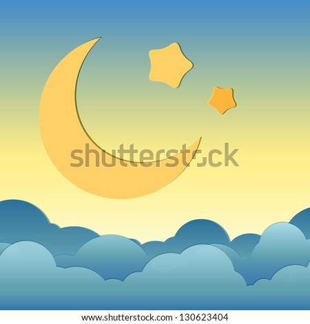 Cartoon of moonand star over the cloud