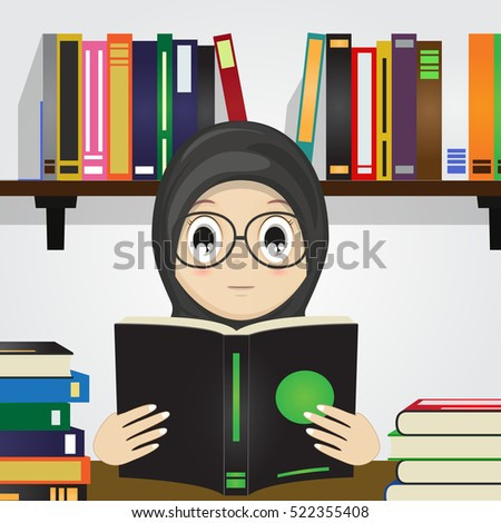 cartoon of muslim girl reading...