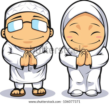 Cartoon of Muslim Man Woman