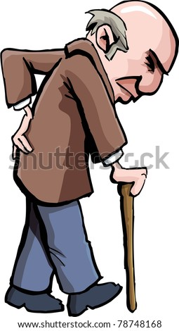 Cartoon of old man with a walking stick. Isolated on white