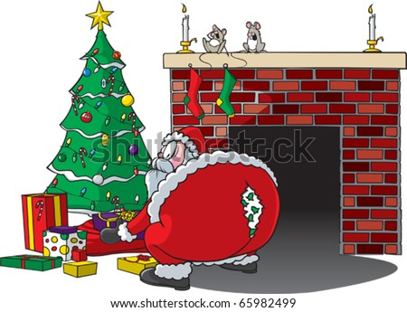 Cartoon of Santa bending over and ripping pants. Layered vector file available.