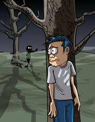 Cartoon of scared man in the woods hiding from a zombie