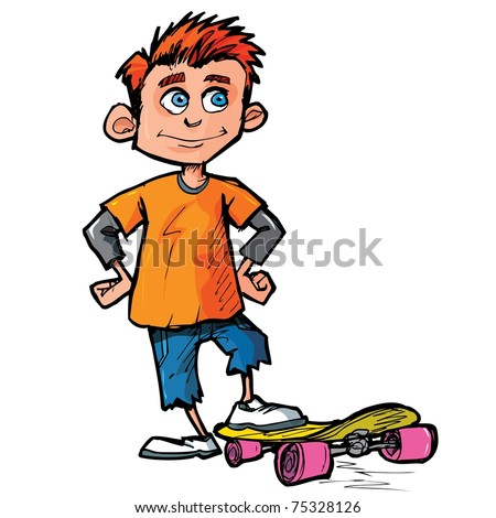 Cartoon of skater boy isolated on white