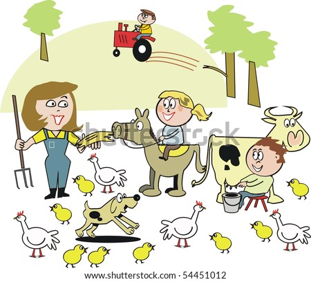 Cartoon of smiling family on farm with animals and tractor.