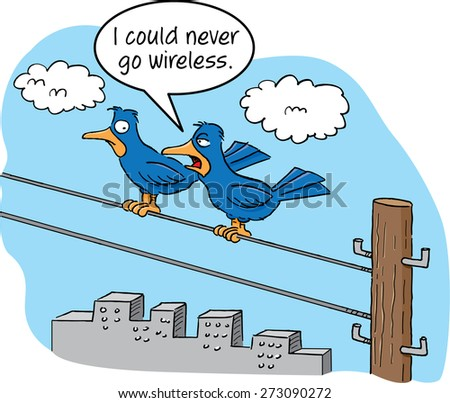 cartoon of two birds talking on