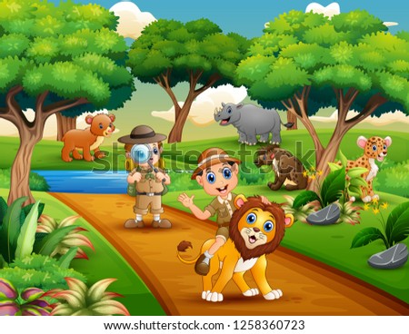 cartoon of two boy explorer