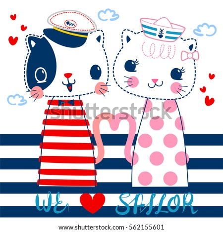 cartoon of two cats in sailor