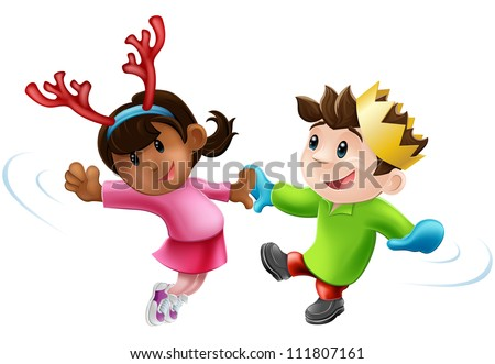 Cartoon of two children or young people in seasonal Christmas outfits having fun dancing - stock vector