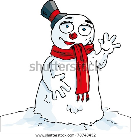 Cartoon of waving snowman with a scarf. Isolated on white