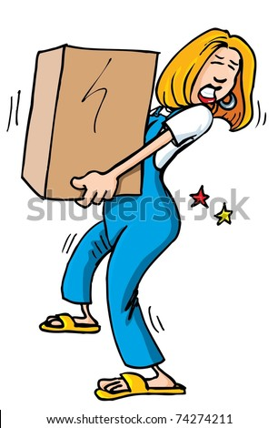Cartoon of woman picking up a heavy box. It causes her back pain