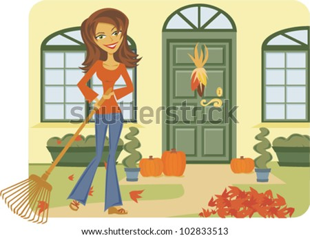 Cartoon of Woman raking leaves in front of house