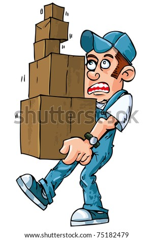 Cartoon of worker carrying boxes isolated on white