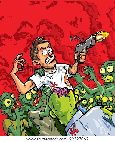 Cartoon of zombies attacking a man with a gun. Red background