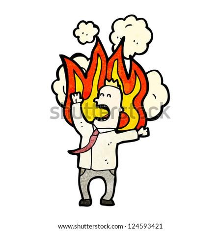 cartoon office man on fire
