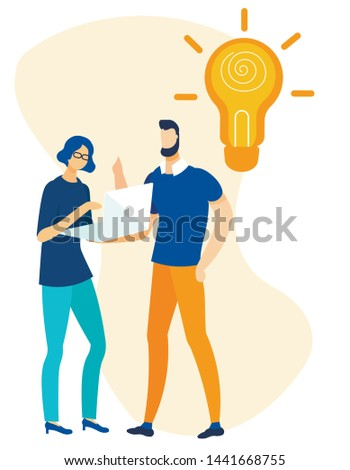 Cartoon Office People Brainstorming Search Idea on Laptop. Woman Working on Computer, Man Creating Solutions and Strategy. Huge Light Bulb. Brainstorm and Business Startup. Vector Flat Illustration