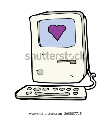 cartoon old computer with love