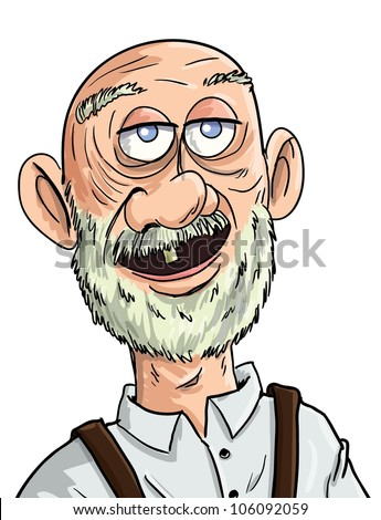 Cartoon old man with one tooth. Isolated
