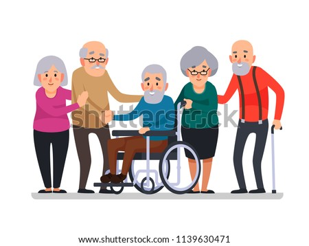 Cartoon old people. Happy aged citizens, disabled senior on older wheelchair and care seniors smiling elder age couple elderly citizen happy with a cane, disability family cartoon vector illustration