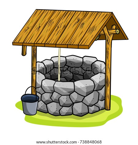 cartoon old stone well with a