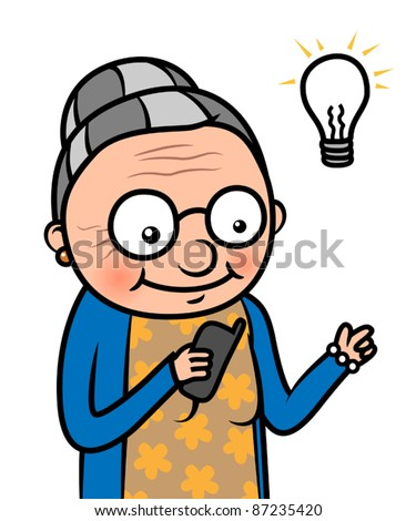 Cartoon old woman using or learning to use a mobile phone, vector illustration