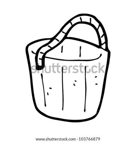 cartoon old wooden bucket