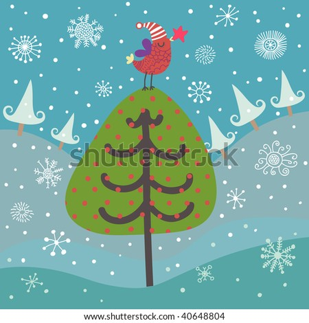 cartoon on fruit tree under