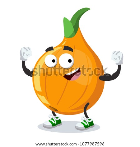 cartoon onion mascot shows its strength on a white background