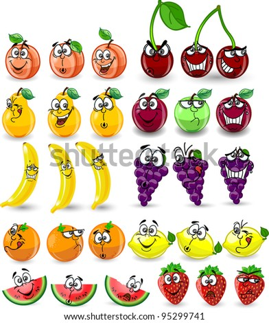 Cartoon orange, banana, apples, strawberry, pear, cherry, peach, plum, lemon, grapes, watermelon - stock vector