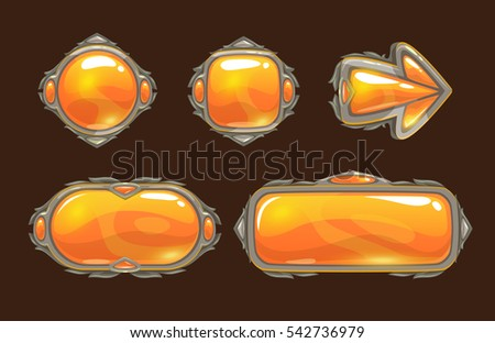 Cartoon orange decorative buttons set for game or web design.