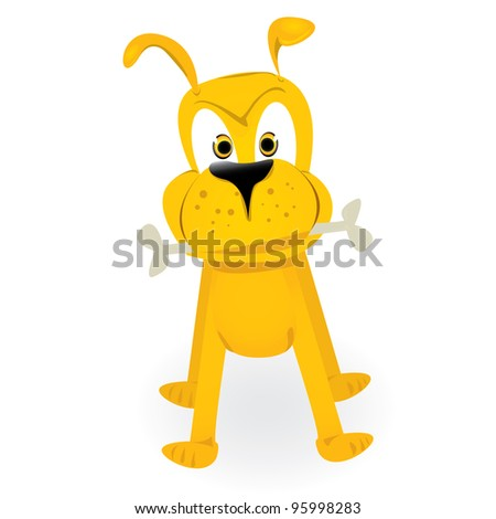 cartoon orange dog with bone. vector illustration. - stock vector