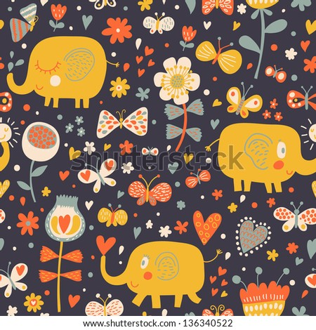 Cartoon orange elephants in flowers with butterflies Seamless pattern can be used for wallpapers pattern fills web page backgrounds surface textures Gorgeous childish seamless background