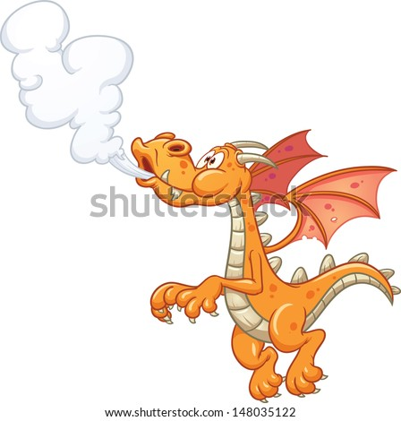 cartoon orange smoking dragon