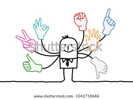 Cartoon Orator with Multi Hands Signs