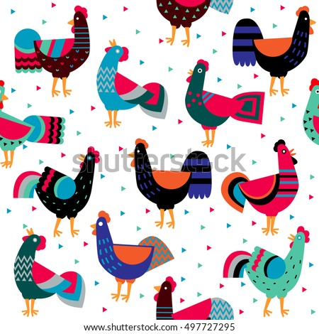 cartoon ornamented roosters on