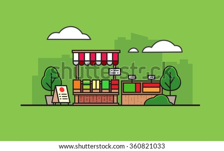 Shutterstock Cartoon outdoor store on green background in flat style