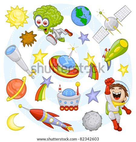 cartoon outer space set