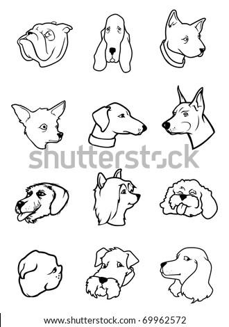 cartoon outline vector illustration of dog faces