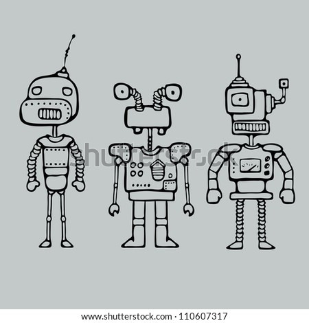 Cartoon Outlines Drawing With Vintage Robot Drawing