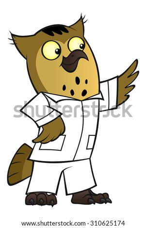 cartoon owl doctor in a white